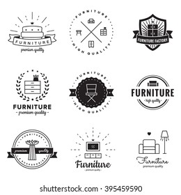 Furniture logo vintage vector set. Hipster and retro style. Perfect for your business design.