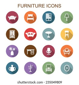 furniture long shadow icons, flat vector symbols