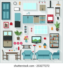 Furniture and Long Shadows icons with Lounge Dining also Kitchen Appliances - All items grouped separately and easy to move or edit