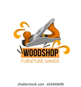Furniture maker icon for handyman woodwork company or woodshop. Vector isolated symbol of jointer plane or wood craftsman work tool and home or house furniture woodworking toolkit