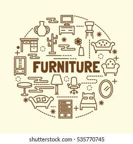 furniture minimal thin line icons set, vector illustration design elements