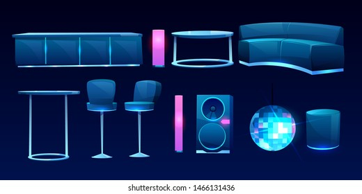 Furniture for night club or bar isolated on dark background, counter desk, table, couch, sofa, high chairs, dynamics, glowing lamps, strobe light. Interior design elements. Cartoon vector illustration