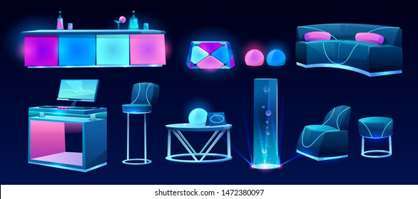 Furniture for night club isolated on dark background, bar counter with drinks, dj mixer desk, table, couch, high chair, glowing plasma, neon lamps, interior design elements Cartoon vector illustration