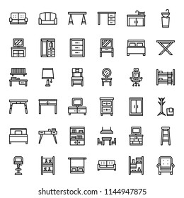 furniture outline icon, household, isolated on white background
