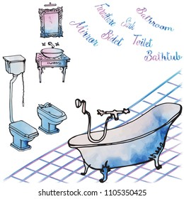 Furniture, plumbing, toilet, bidet, mirror and washbasin luxurious classic rich for the bathroom - a sketch invector lines and watercolor spots, careless, white background, bath, washbasin, mirror