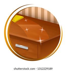 Furniture polish to shiny icon. Isolated on white background. Vector illustration.