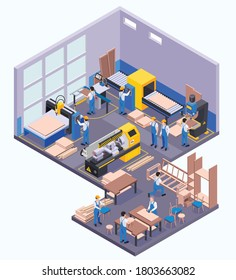 Furniture production isometric vector illustration of factory floor with workers and modern equipment for wood pressing sawing drilling