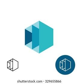 Furniture rack frame construction 3D hex logo template