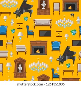 Furniture seamless pattern vector furnishings design of living-room backdrop furnished interior in apartment sofa table arm-chair to furnish room illustration background