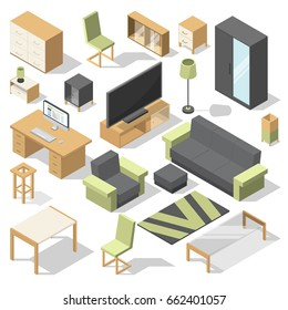 Furniture set for bed room. Vector isometric elements for modern home