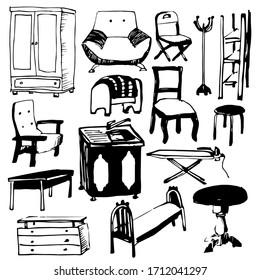 furniture set black and white sketch