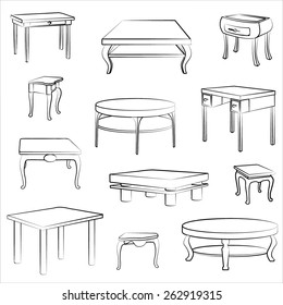 Charmant Furniture Set Of Different Table And Desk. Interior Detail Outline Sketch  Collection.