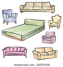 Furniture set. Interior detail isolated watercolor outline collection: bed, sofa, settee, armchair.