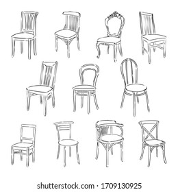 Furniture set. Interior detail outline collection: chair, armchair, stool. wooden chair vector sketch illustration