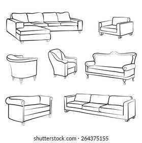 Furniture set. Interior detail outline collection: bed, sofa, settee, armchair.