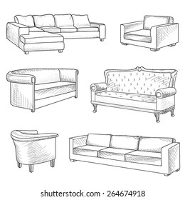 Furniture set. Interior detail outline sketch collection: bed, sofa, settee, armchair.