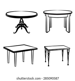 Furniture set. Interior detail outline collection: tables in different retro style