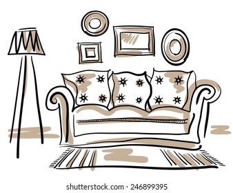 Furniture set for living room with a couch, floor lamp, carpet and photo frames.