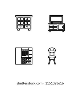Furniture. Set outline icon EPS 10 vector format. Professional pixel perfect black & white icons optimized for both large and small resolutions. Transparent background.
