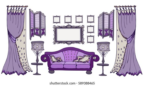 Furniture set sketch vector classic style dark purple deep color with a sofa, screen, frames, lamps and curtains, for interior decoration of room indoor