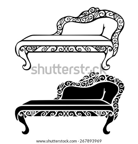 Furniture Set Vintage Sofa Front View Stock Vector Royalty Free
