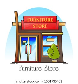 Furniture shop or store, shopfront for selling sofa and chair. Building facade for table or decoration retail. Outdoor or exterior, front view on architecture. Shopping and decor theme