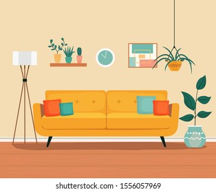 Furniture: sofa, bookcase, picture. Living room interior.Flat style vector illustration