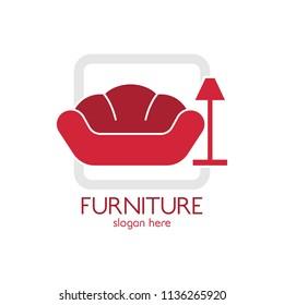 Furniture sofa and lamp logo design icon template. Home decor interior design vector illustration