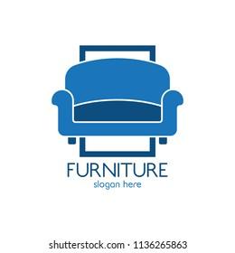Furniture sofa logo design icon template. Home decor interior design vector illustration