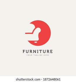 furniture sofa minimalist flat logo template vector illustration design