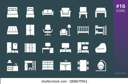 Furniture solid icon set. Set of furniture for home, bedroom, living room, office, hallway, kitchen, children's room glyphs vector icons