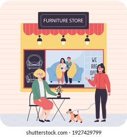 Furniture store, female buyer consults with seller regarding purchase of couch during sale. People in furniture store looking for new comfortable sofa for home. Shop assistant helps lady choose design