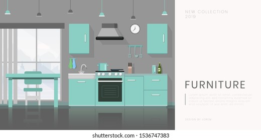 Furniture store flat banner vector template. Contemporary kitchen equipment sale, kitchenware shop advertising poster layout. Modern dining room furnishing illustration with text space