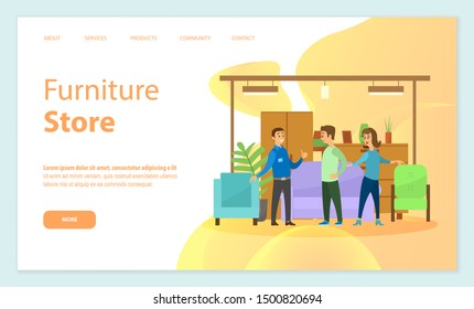 Furniture store vector, consultant seller, explaining clients benefits of items. Sofa and armchairs, houseplant decoration and drawers info. Website or webpage template, landing page flat style