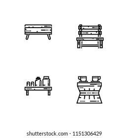 Furniture theme. Set outline icon EPS 10 vector format. Professional pixel perfect black and white icons optimized for both large and small resolutions. Transparent background.