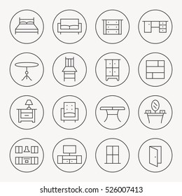 Furniture thin line icon set