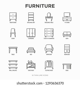 Furniture thin line icons set: dressing table, sofa, armchair, wardrobe, chair, table, bookcase, bad, clothes rack, desk, wall shelves. Elements of interior. Modern vector illustration.