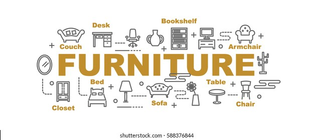 furniture vector banner design concept, flat style with thin line art icons on white background