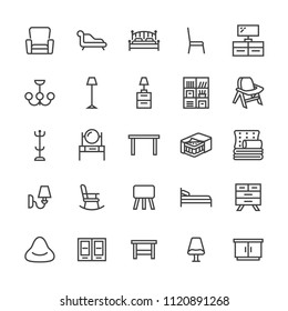 Furniture vector flat line icons. Living room tv stand, bedroom, home lighting, rocking chair, sofa, bedding, dining table, bed,bookcase. Thin signs collection interior store. Pixel perfect 48x48