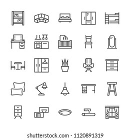 Furniture vector flat line icons. Living room, bedroom, baby crib, kitchen corner sofa, nursery dining table, pillows, home lighting, window. Thin signs collection interior store. Pixel perfect 48x48.
