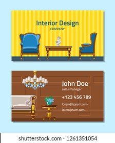 Furniture vector furnishings design of living-room backdrop furnished interior in apartment set of sofa table arm-chair to furnish room illustration background