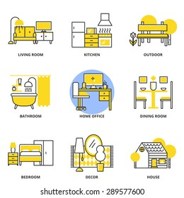 Furniture vector icons set: living room, kitchen, outdoor, bathroom, home office, dining room, bedroom, decor, house. Modern line style