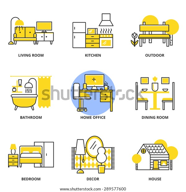 Furniture Vector Icons Set Living Room Stock Vector Royalty