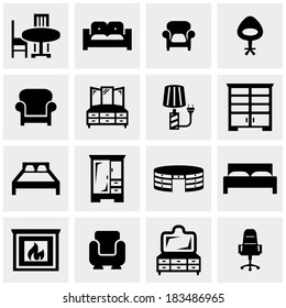 Furniture vector icons set on gray