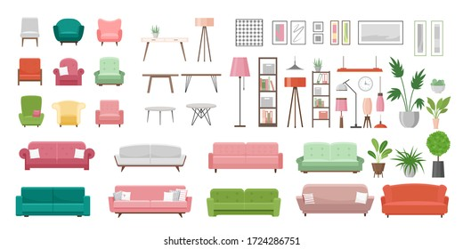 Furniture vector illustration set. Cartoon flat furnishings design with sofa armchair, lamp, table, house plants. Designer trendy items for home apartment or office interior decor isolated on white