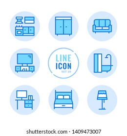 Furniture vector line icons set. Room interior objects, wardrobe, kitchen, sofa, bed outline symbols. Modern simple stroke graphic elements. Round icons