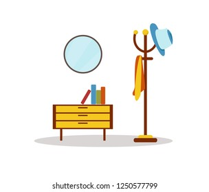 furniture and with yellow hat and coat hanger in hallway, Vector flat style illustration isolated on white background