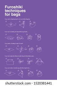Furoshiki infographic four. Packaging techniques for bags. Illustration with purple background. Japan Art EPS10