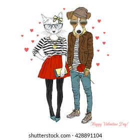 furry art illustration of cute cat and dog hipsters couple, Valentine Day design