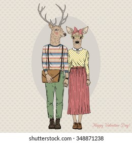 furry art illustration of deers hipsters couple, Valentine Day design